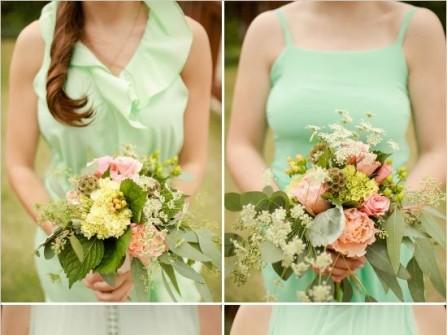Váy phụ dâu màu xanh lá nhạt chất vải mềm