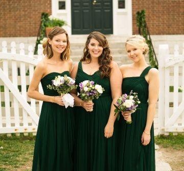 Váy phụ dâu màu xanh lá đậm dáng dài