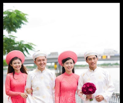 Áo dài phụ dâu phụ rể trắng - hồng