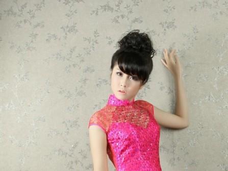 Áo dài bưng quả ren màu hồng tay ngắn