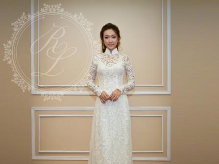 Áo dài cưới ren voan tay trong suốt