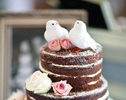 Bánh cưới màu nâu với đôi chim trên bánh