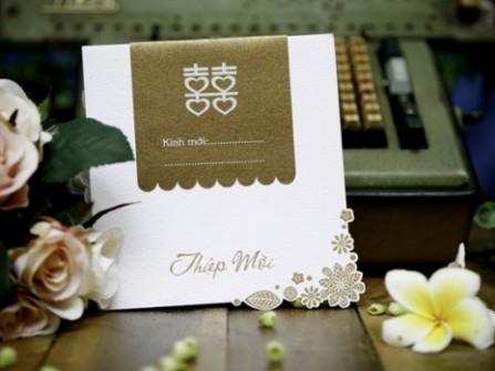 Thiệp cưới đẹp truyền thống in chữ hỷ