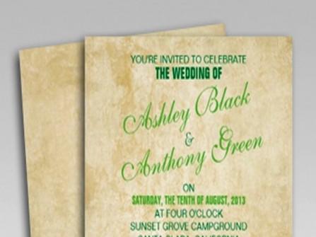 Thiệp cưới đẹp màu xanh lá như một trang sách