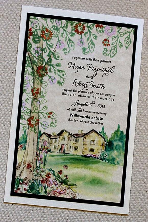 Thiệp cưới đẹp màu xanh lá họa phong cảnh