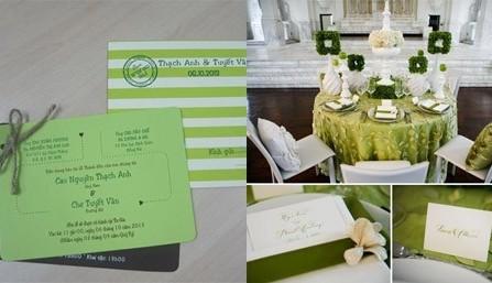 Thiệp cưới đẹp màu xanh lá sáng tạo với nút thắt nơ