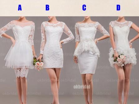Váy phụ dâu trắng ngắn, kiểu dáng đa dạng