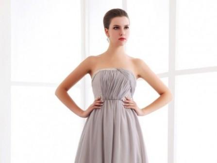 Áo cưới chữ A cúp ngực xếp vải chéo