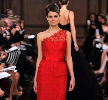Áo cưới đỏ ren lệch vai