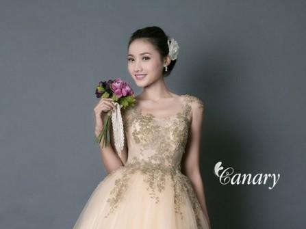 Áo cưới màu vàng kiểu công chúa có đính ren