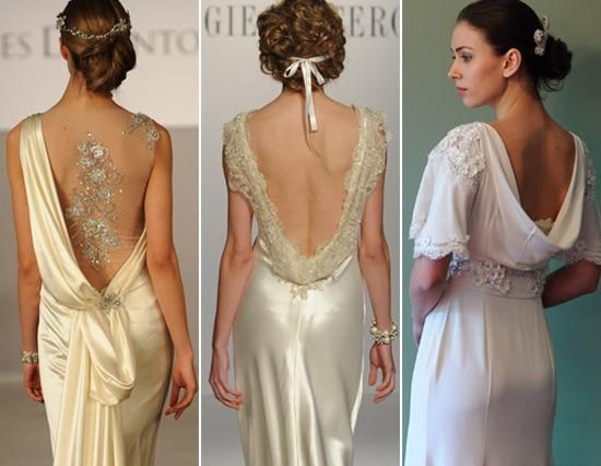 Áo cưới màu vàng hở lưng