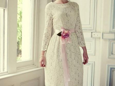 Áo cưới ngắn cổ thuyền ren hoa tay dài