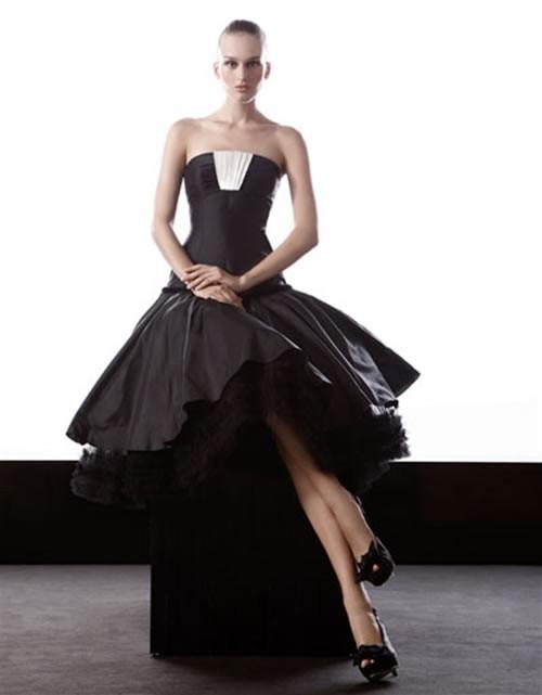 Áo cưới đen với cúp ngực ấn tượng