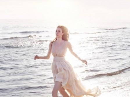 Váy cưới ngắn màu vàng nude với chân váy mullet
