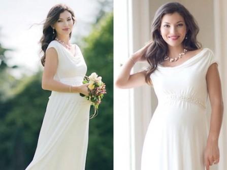 Váy cưới cổ thuyền suôn cho cô dâu bầu