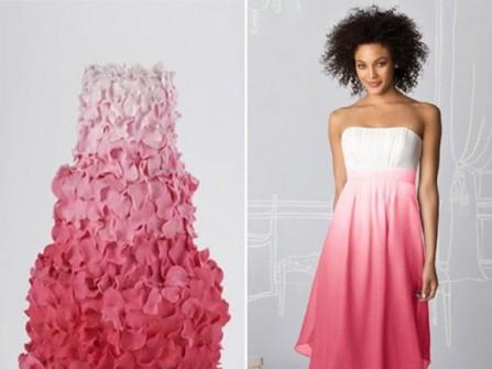 Áo cưới màu hồng ombre hai tầng
