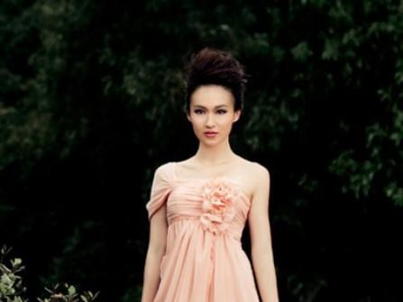 Áo cưới suôn dài màu hồng nhạt đính hoa