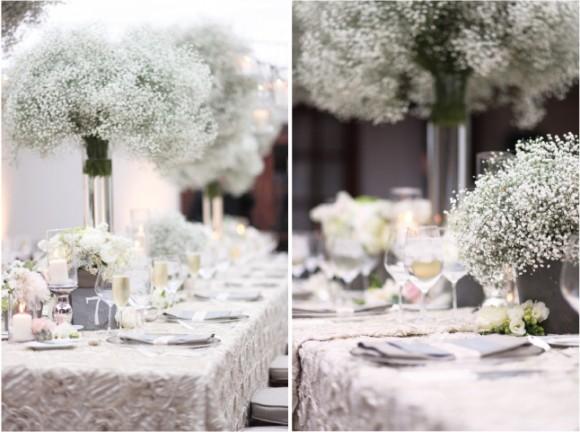 Hoa trang trí tiệc cưới ngập tràn sắc trắng hoa bi