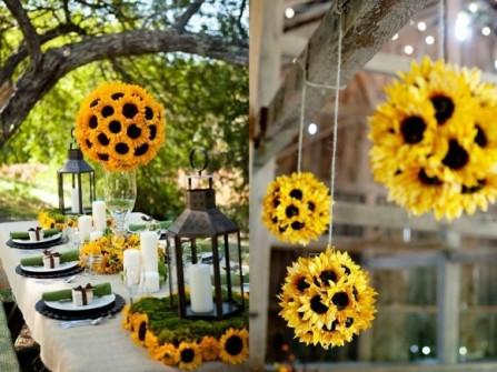 Hoa trang trí tiệc cưới kết hình cầu bằng hoa hướng dương