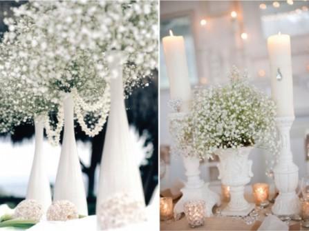 Hoa trang trí tiệc cưới thanh lịch với hoa bi trắng