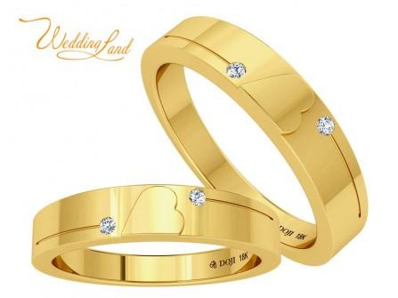 Nhẫn cưới vàng đính kim cương đôi