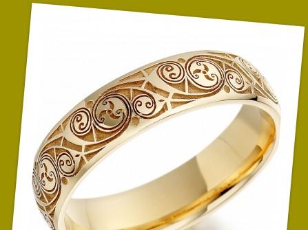Nhẫn cưới vàng, hoa văn xoáy độc đáo