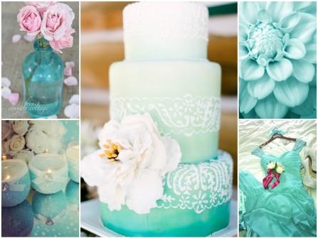 Bánh cưới ba tầng màu xanh ombre kết hoa lãng mạn