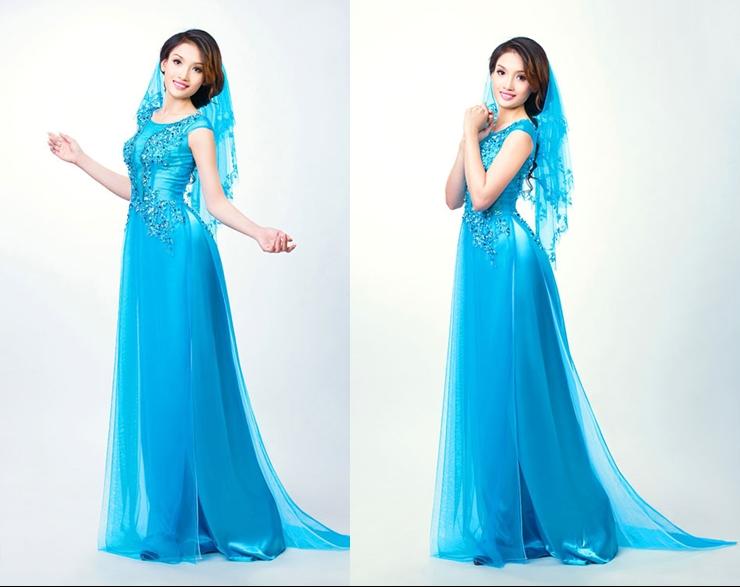 Áo dài cưới màu xanh dương tay ngắn cổ thuyền