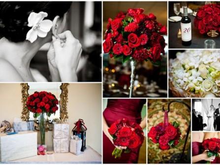 Hoa trang trí đám cưới kết từ hồng nhung và đồng tiền đỏ