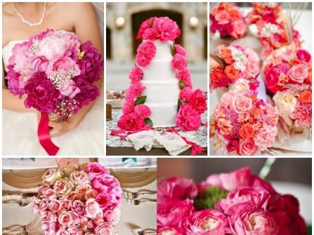 Hoa cưới trang trí màu hồng kết từ hoa hồng và mẫu đơn