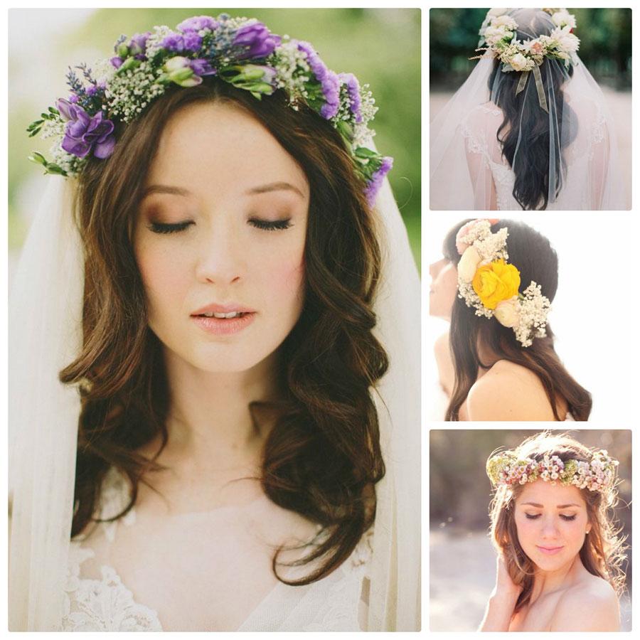 Vòng hoa tươi cho tóc cưới xõa lãng mạn