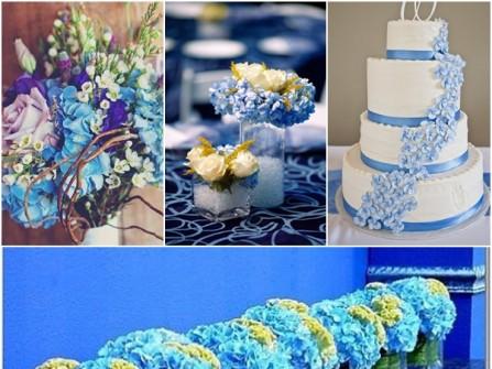 Hoa cưới trang trí màu xanh kết từ hoa cẩm tú cầu