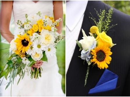 Hoa cài áo chú rể màu vàng kết từ hoa hướng dương