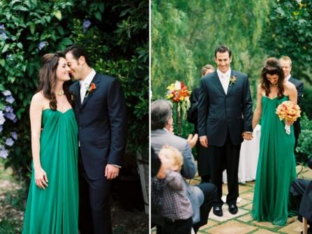 Váy cưới màu xanh ngọc lục bảo dáng suôn dài