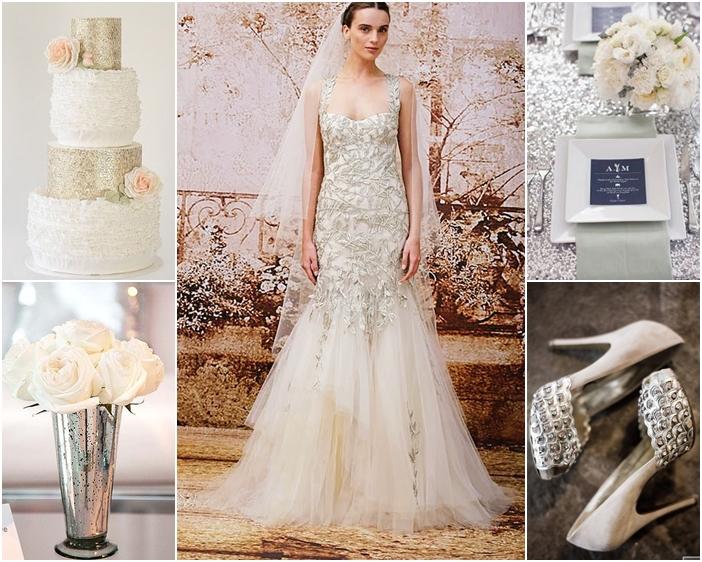 Váy cưới cô dâu màu bạc kết họa tiết kim loại cầu kỳ