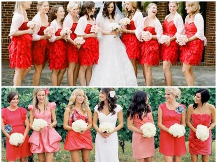 Váy phụ dâu màu đỏ Cayenne