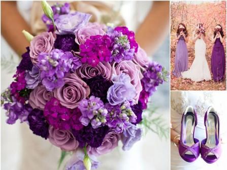 Hoa cưới cầm tay màu tím kết từ hoa hồng và cẩm chướng