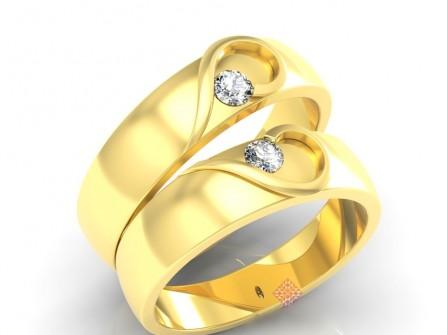 Nhẫn cưới vàng đính đá ghép hình trái tim