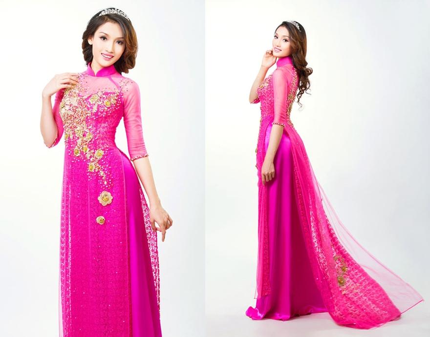 Áo dài cưới màu hồng cánh sen ren tay lỡ