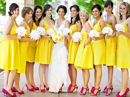 Váy phụ dâu màu vàng Freesia