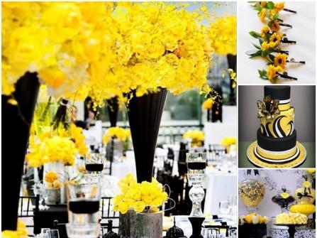Hoa cưới trang trí màu vàng kết từ hoa lan và hoa hồng