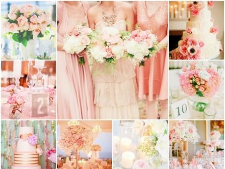Theme đám cưới màu hồng nhạt pastel