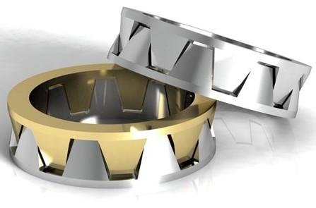 Nhẫn cưới vàng và bạch kim hình học độc đáo