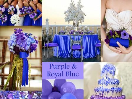 Theme cưới màu tím và xanh dương hoàng gia