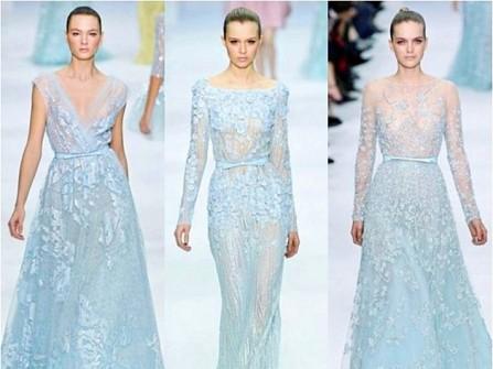 Váy cưới màu xanh pastel đính đá lãng mạn