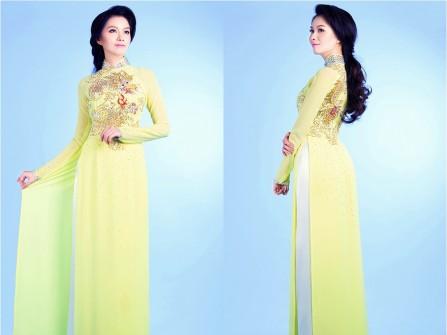 Áo dài cưới đẹp màu vàng chanh kết hạt đá và kim tuyến