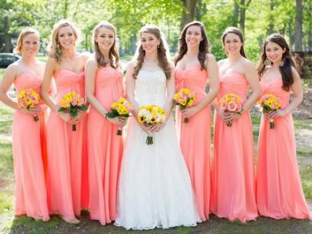 Váy phụ dâu cúp ngực màu hồng cam