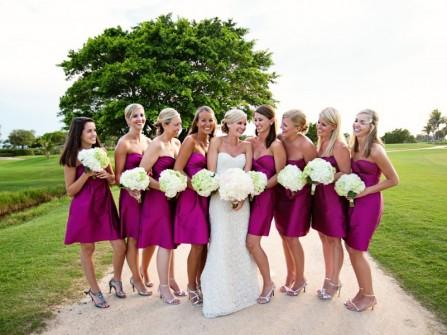 Đầm phụ dâu cúp ngực màu hồng tím