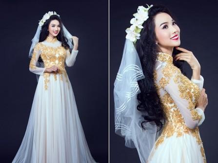 Áo dài cưới voan trắng kết ren vàng sang trọng