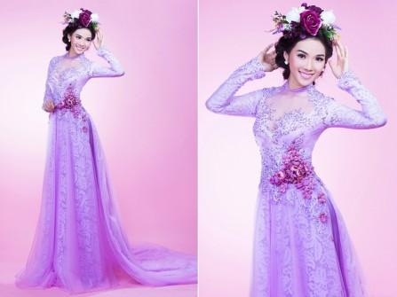 Áo dài cưới đẹp màu tím pastel kết hoa sang trọng